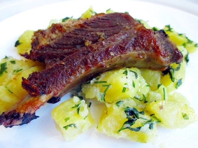 Garlic pork rib roast with parsley potatoes