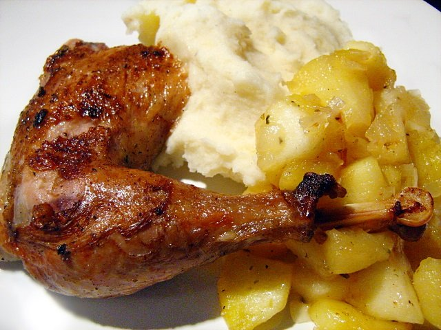 Roasted pheasant with apple-onion sauté