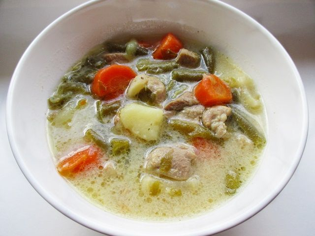 Pork ragout soup with tarragon