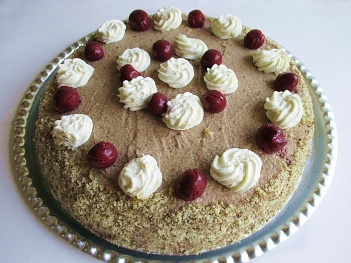 Sour cherry-chestnut cake
