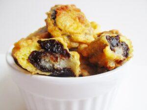 Lakatosinas - Marzipan filled prunes in pancake batter