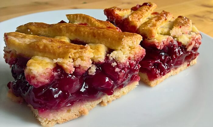 Lattice top sour cherry pie